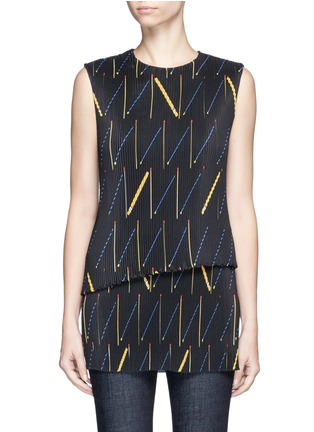 Main View - Click To Enlarge - Victoria Beckham - Matchstick print plissé pleat sleeveless top