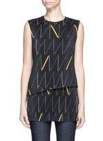 Matchstick print plissé pleat sleeveless top