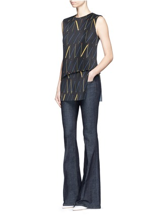 Figure View - Click To Enlarge - Victoria Beckham - Matchstick print plissé pleat sleeveless top