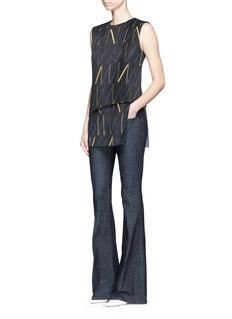 Victoria BeckhamMatchstick print plissé pleat sleeveless top