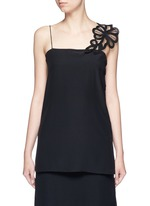 Lace appliqué silk camisole top