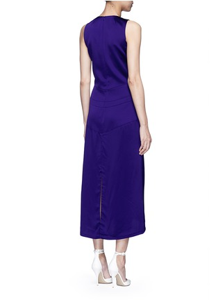 Back View - Click To Enlarge - Victoria Beckham - V-neck seamed satin midi dress