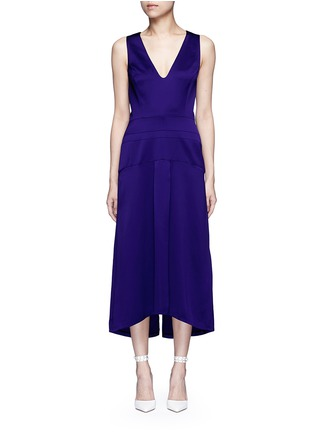 Main View - Click To Enlarge - Victoria Beckham - V-neck seamed satin midi dress