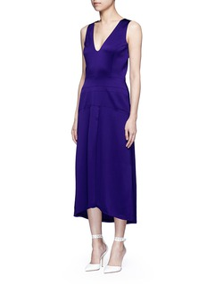 Victoria Beckham V-neck seamed satin midi dress