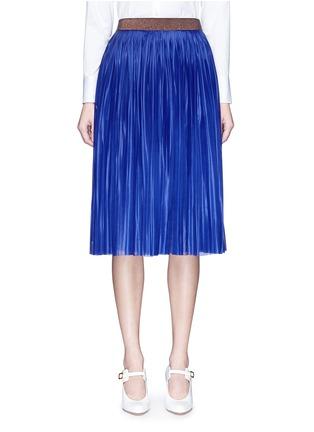Victoria Beckham-Metallic waistband plissé pleat jersey skirt