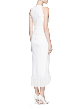 Back View - Click To Enlarge - Victoria Beckham - Racer front pleated hem crepe maxi dress