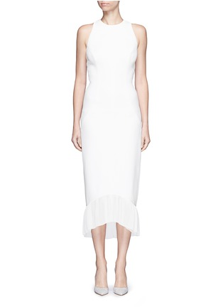 Main View - Click To Enlarge - Victoria Beckham - Racer front pleated hem crepe maxi dress