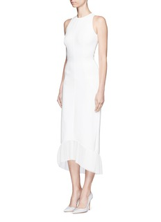 Victoria Beckham Racer front pleated hem crepe maxi dress