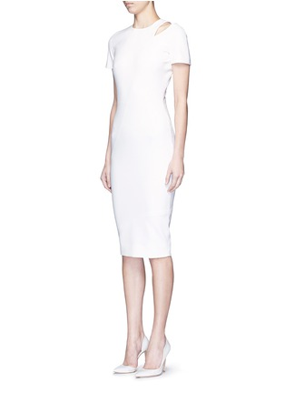 Front View - Click To Enlarge - Victoria Beckham - Curve seam fitted cutout shoulder dress