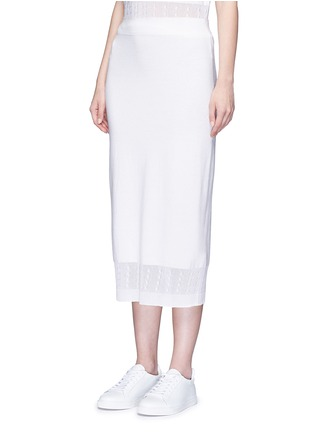 Front View - Click To Enlarge - Victoria Beckham - Cable knit trim pencil skirt