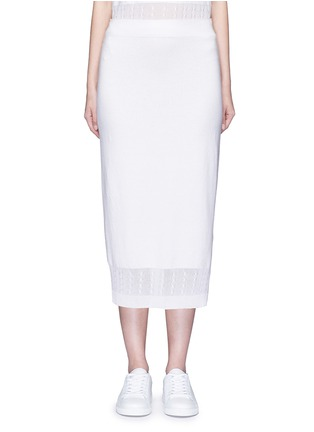 Main View - Click To Enlarge - Victoria Beckham - Cable knit trim pencil skirt