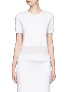 Victoria Beckham Cable knit trim short sleeve top