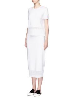 Victoria BeckhamCable knit trim short sleeve top