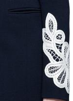 Lace appliqué sleeve virgin wool blend coat