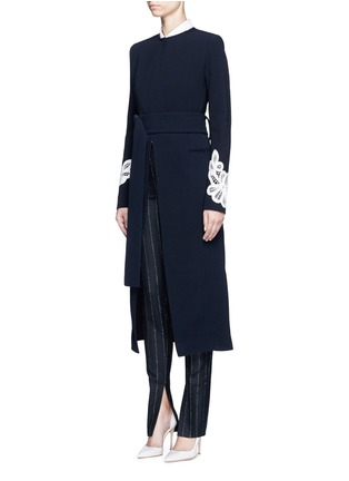 Front View - Click To Enlarge - Victoria Beckham - Lace appliqué sleeve virgin wool blend coat