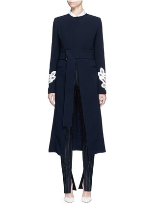Main View - Click To Enlarge - Victoria Beckham - Lace appliqué sleeve virgin wool blend coat