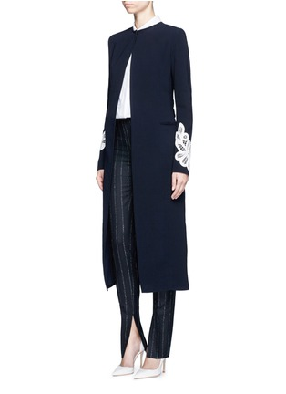 Figure View - Click To Enlarge - Victoria Beckham - Lace appliqué sleeve virgin wool blend coat