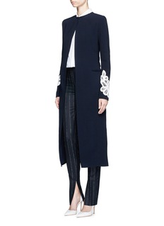 Victoria Beckham Lace appliqué sleeve virgin wool blend coat