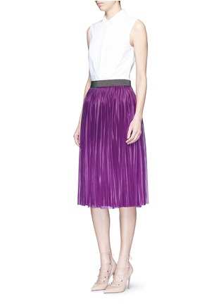 Figure View - Click To Enlarge - Victoria Beckham - Metallic waistband plissé pleat jersey skirt