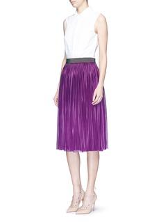 VICTORIA BECKHAMMetallic waistband plissé pleat jersey skirt