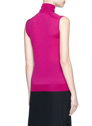 Back View - Click To Enlarge - Victoria Beckham - Turtleneck wool knit sleeveless top