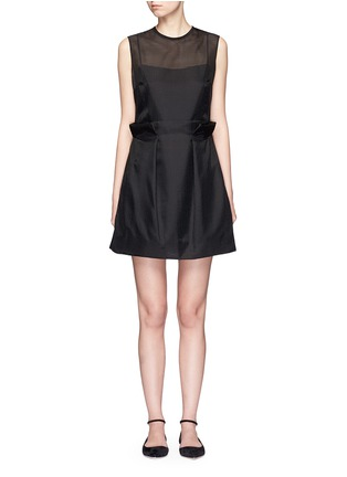 Main View - Click To Enlarge - VICTORIA, VICTORIA BECKHAM - Paperbag waist embroidered gauze dress