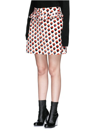 Front View - Click To Enlarge - VICTORIA, VICTORIA BECKHAM - Pleat trim strawberry jacquard skirt