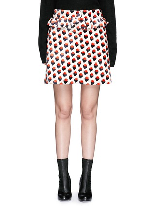 Main View - Click To Enlarge - VICTORIA, VICTORIA BECKHAM - Pleat trim strawberry jacquard skirt