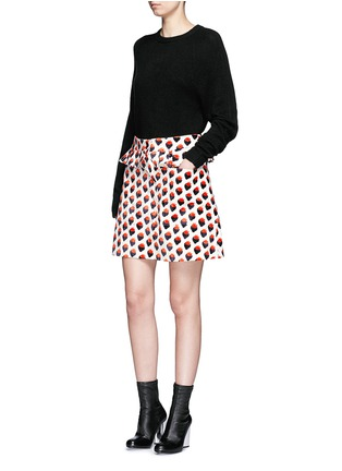 Figure View - Click To Enlarge - VICTORIA, VICTORIA BECKHAM - Pleat trim strawberry jacquard skirt
