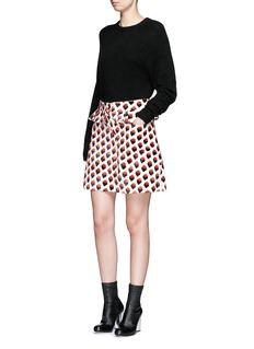 VICTORIA, VICTORIA BECKHAMPleat trim strawberry jacquard skirt