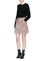 Pleat trim strawberry jacquard skirt