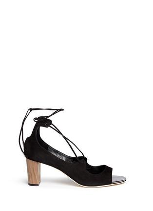 Main View - Click To Enlarge - Jimmy Choo - 'Vernie' wood effect heel suede sandals