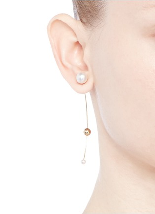 Figure View - Click To Enlarge - Sophie Bille Brahe - 'Elipse Trois' pearl 14k yellow gold single earring