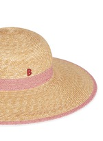 Paper trim wide brim straw capeline hat