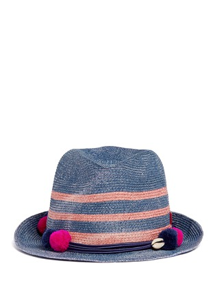 Main View - Click To Enlarge - My Bob - 'AIX' pompom seashell cordon stripe Panama hat