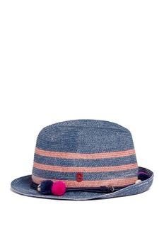 MY BOB'AIX' pompom seashell cordon stripe Panama hat