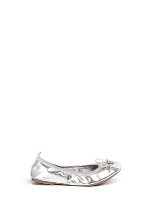 Main View - Click To Enlarge - Sam Edelman - 'Farren' metallic faux leather junior ballerina flats