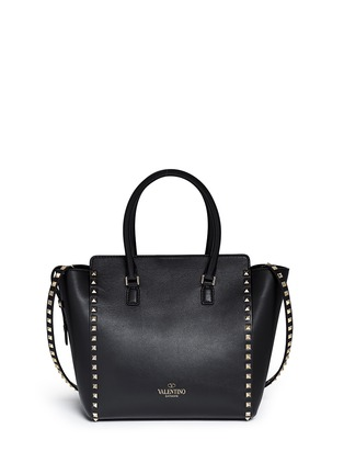 Back View - Click To Enlarge - Valentino - 'Rockstud' medium leather zip tote
