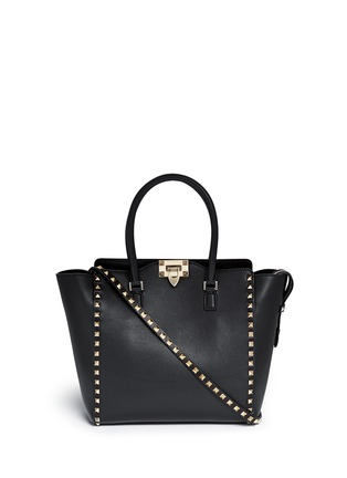 Main View - Click To Enlarge - Valentino - 'Rockstud' medium leather zip tote