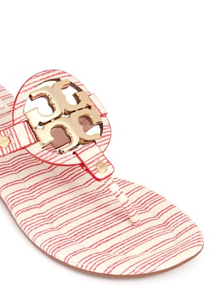 Detail View - Click To Enlarge - Tory Burch - 'Miller 2' stripe snake embossed leather thong sandals
