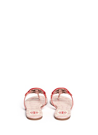 Back View - Click To Enlarge - Tory Burch - 'Miller 2' stripe snake embossed leather thong sandals