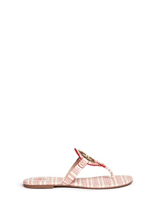Main View - Click To Enlarge - Tory Burch - 'Miller 2' stripe snake embossed leather thong sandals