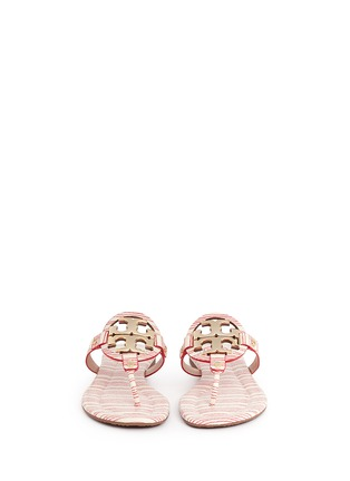 Figure View - Click To Enlarge - Tory Burch - 'Miller 2' stripe snake embossed leather thong sandals