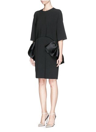 Front View - Click To Enlarge - Stella McCartney - Satin ruffle trim crepe dress