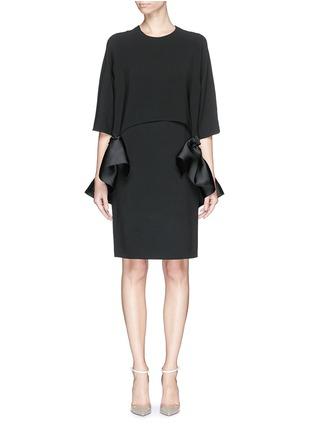 Main View - Click To Enlarge - Stella McCartney - Satin ruffle trim crepe dress