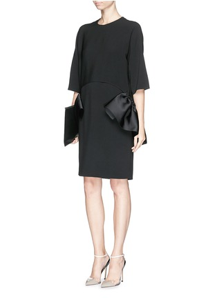 Figure View - Click To Enlarge - Stella McCartney - Satin ruffle trim crepe dress