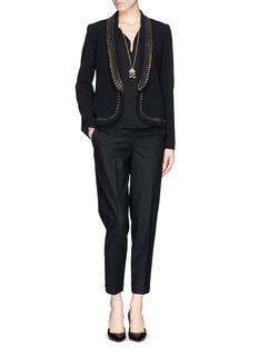 DIANE VON FURSTENBERG'Alyona' jewel lapel crepe jacket