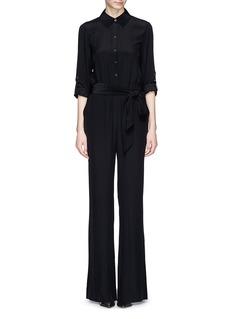 DIANE VON FURSTENBERG'Lori' blouson silk crepe jumpsuit