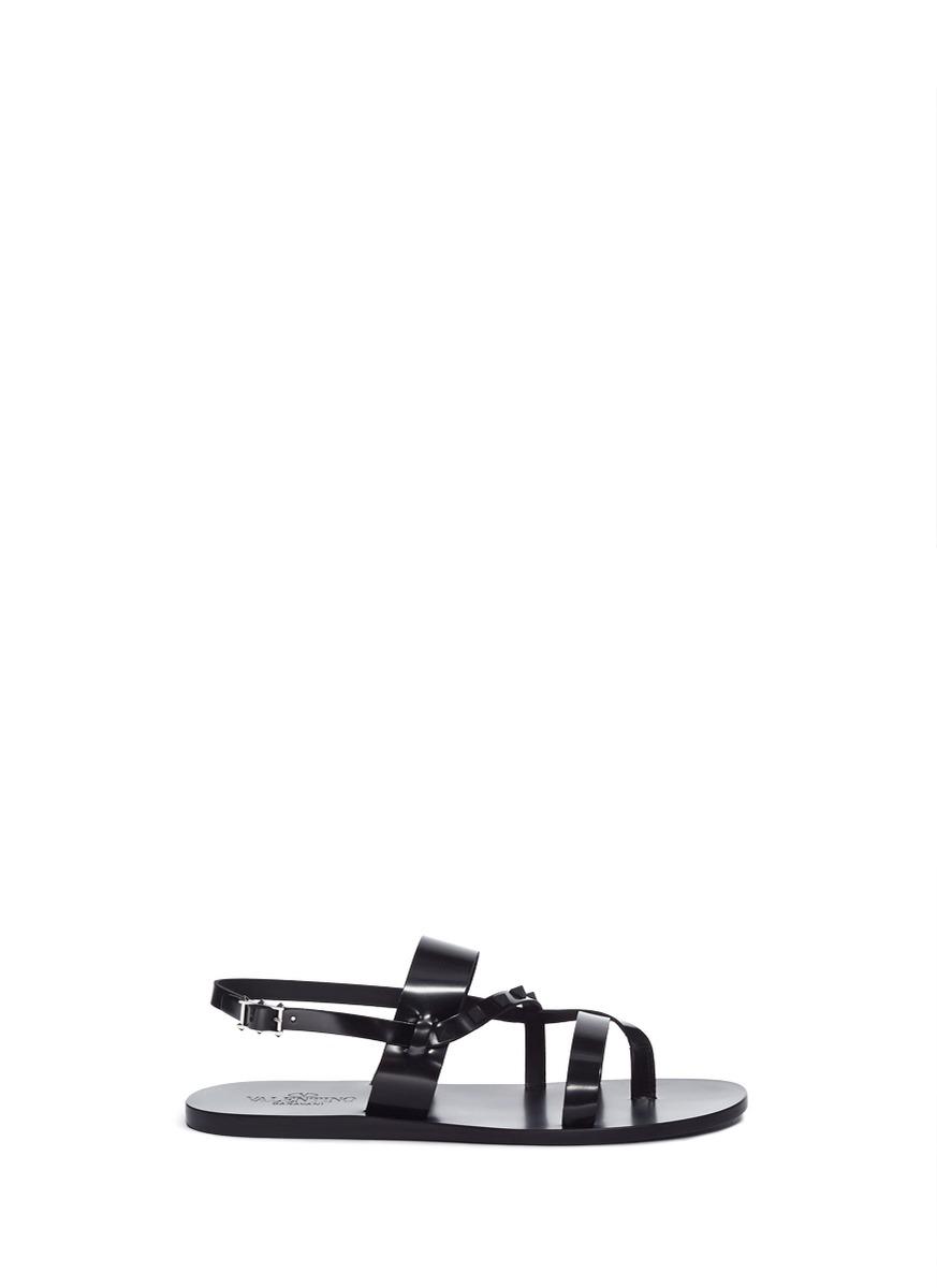 Rockstud strap leather sandals