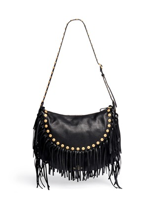 Back View - Click To Enlarge - Valentino - Gryphon stud fringe leather hobo bag
